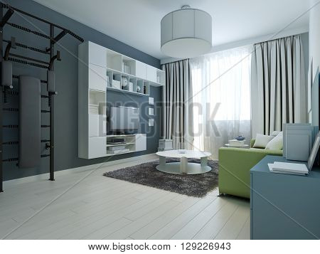 Idea of modern lounge with wall bars. 3D render