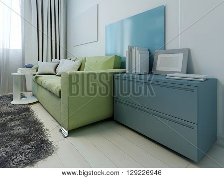 Colored furniture in contemporary lounge. 3D render