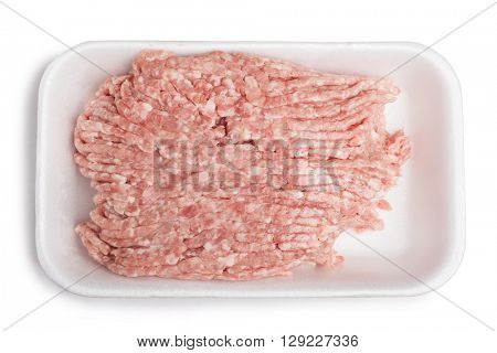 Forcemeat on plate isolated on white background