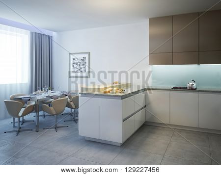 Kitchen with dining table contemporary style. Bright spacious interior modern kitchen with breakfast bar and white and brown colored furniture. 3D render