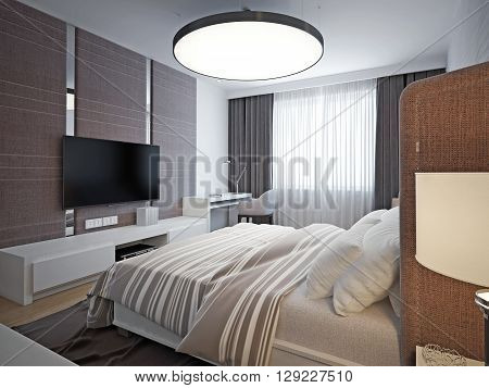 Panoramic view of nice cozy bedroom. Spacious elegant room with good lighting and comfortable soft design. 3D render