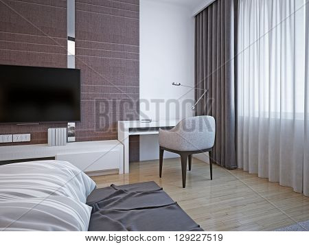 Working area in art deco bedroom. Little cozy white table with soft chairs for productive work or reading books standing near the window a large bedroom. 3D render