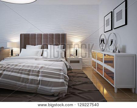 Modern bedroom with sideboard trend. 3D render
