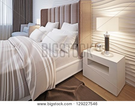 Bedroom with bed and linen. 3D render