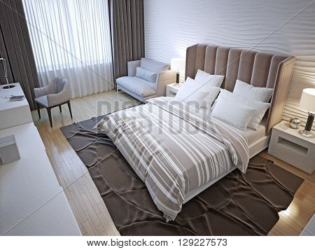 Hotel bedroom interior. Contemporary bedroom with white wavy plaster walls painted wood floors. 3D render