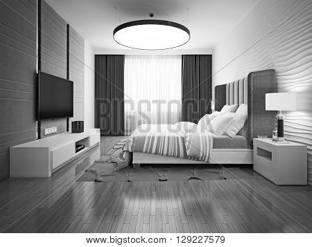 Monochrome art deco style bedroom. 3D render