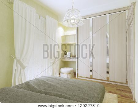 Olive bedroom in modern style. 3D render