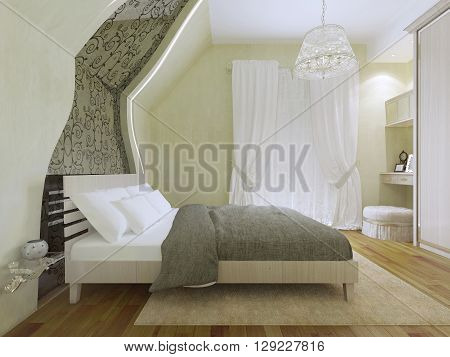 Idea of spacious modern bedroom with balcony entrance. Cream colored carpet and flooring made of pallets. 3D render