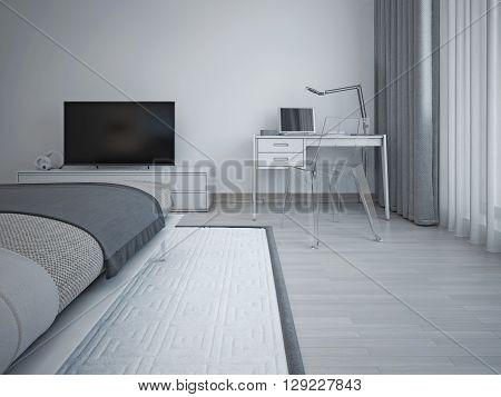 Bedroom interior in minimalist style. Gray walls laminate flooring exquisite bed and TV table. Floor-to-ceiling windows and long curtains. 3D render