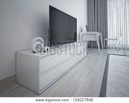 Modern bedroom design. Light grey with metall accent contemporary low tv sideboard. 3D render