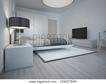Idea of spacious modern bedroom with grey walls. Large soft double bed and strict bedside table with black shade lamp. 3D render