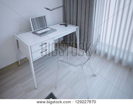 Working table in modern bedroom. 3D render