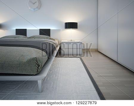 Elegant and monochrome bedroom trend. 3D render