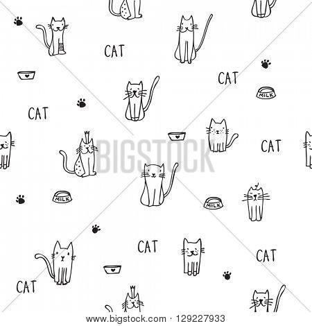 Cats - Seamless pattern - freehand illustration