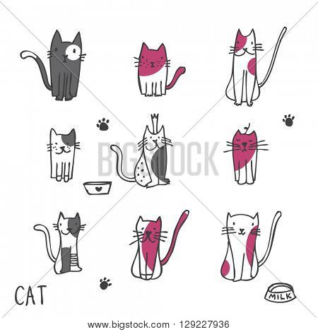 Set of cat illustrations -freehand illustrations