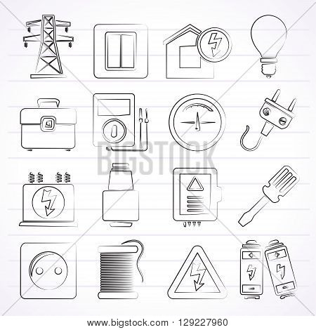 Power, energy and electricity icons - vector icon set