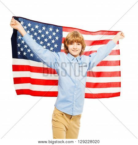Picture of American teenage boy waving star-spangled banner, isolated on white background