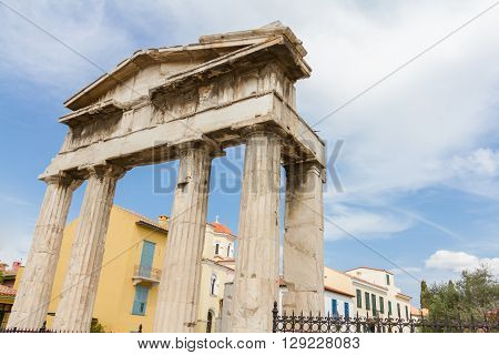 Gate Of Athena Archegetis And Church In The Background In Roman Forum, Athens