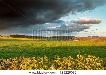 Dramatic Rainy Clouds over Green Fields British Spring Landscape