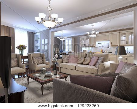 Living room mediterranean style. A cozy place to spend time in the circle of friends. Soft sofas armchairs. Wooden small table in the center and beige tones anywhere. 3D render