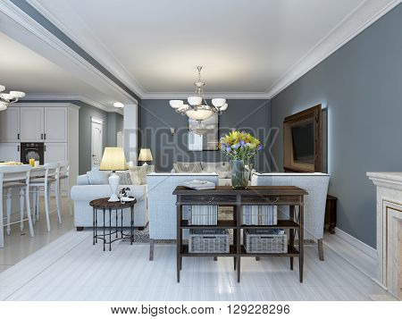 Idea of provence bedroom with white furniture. White parquet floor navy walls kitchen on background and fireplace. 3D render