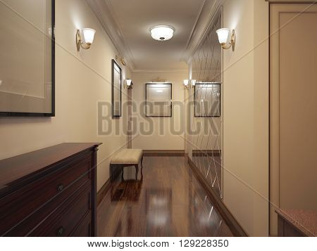 Hallway provence style. Narrow corridor with beige walls brown wooden varnish parquet soft bench and decorated pattern mirror wall. 3D render