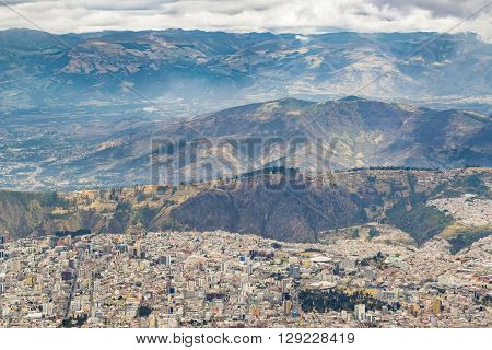 Mountains Landscape And Quito Cityscape Ecuador