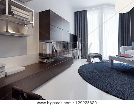 Contemporary living room design. Matte TV cabinet furniture brown. White poured concrete floors and polished. Round dark blue carpet. 3D render