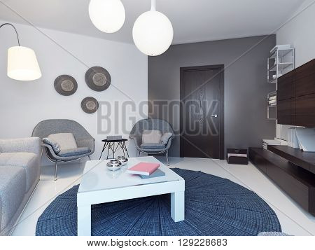 Modern white living room with wooden furniture. 3D render