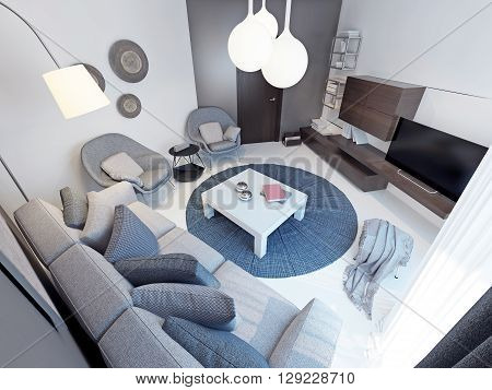 Modern living room with concrete flooring. 3D render