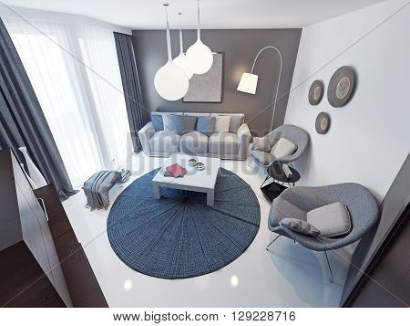 Minimalist lounge room trend.Spacious room with an original interior. Soft gray furniture. White concrete floor. floor to ceiling windows with access to the balcony. 3D render