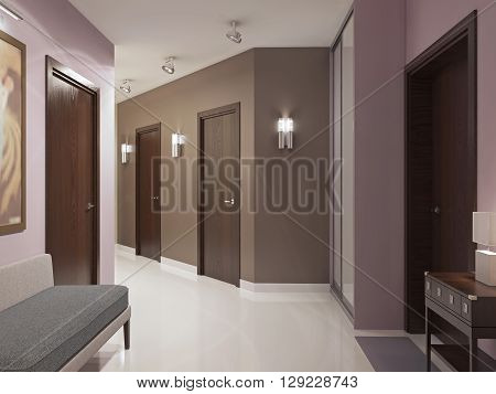 Elegant modern hallway trend. Spacious entrance hall with brown doors pink and brown walls wardrobe with sliding doors and elegant white polished flooring. 3D render