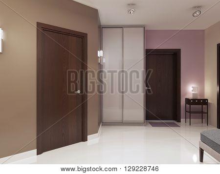 Idea of minimalist entrance hall. Single main door wardrobe with white matt doors. 3D render