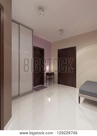 Entrance modern style. Wardrobe with white matt sliding doors simple console with white lamp and a soft bench grey color. 3D render