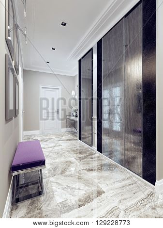 Entrance hall modern style. Inspiration for a contemporary hallway entry with beige walls light polished marble tile floors a single front door. 3D render