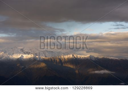 Morning landscape with a mountain range in the snow. Caucasus, Georgia, Zemo Svaneti
