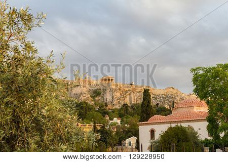 Church And Acropolis Afternoon View From Around Roman Agora, Athens