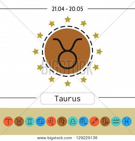 Taurus. Set of simple zodiac icons for horoscopes, predictions. Zodiac signs
