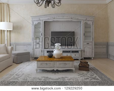 Luxury living room provence style. Spacious room with plaster walls molding and wall system. Old carpet and exclusive low table. 3D render