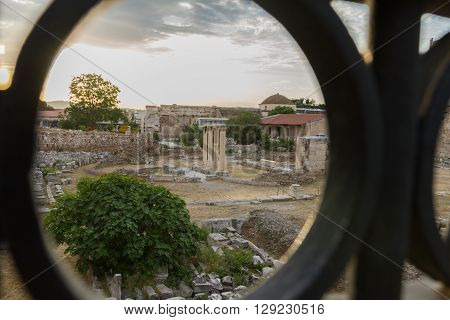 View via gate of Roman forum Agora of Athens Greece. Photographed in an afternoon in April 2016.