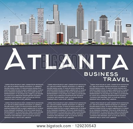 Atlanta Skyline with Gray Buildings, Blue Sky and Copy Space. Vector Illustration. Business Travel and Tourism Concept with Modern Buildings. Image for Presentation Banner Placard and Web Site.