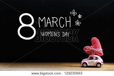 Womens Day Message With Miniature Pink Car