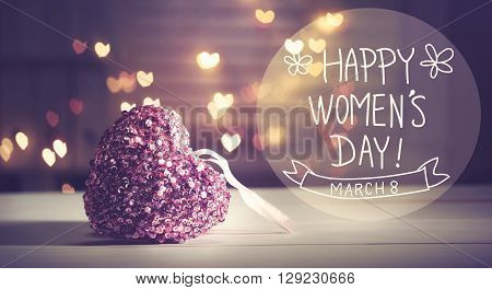 Happy Womens Day Message With Pink Heart