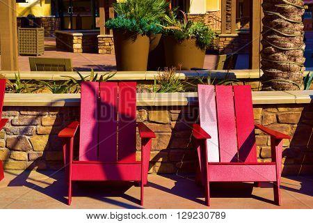 Chairs taken in a public courtyard taken at a modern retail shopping center
