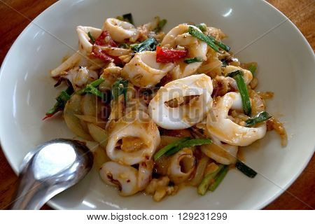 Stir Fried Squid With Salted Egg Yolk (thai Seafood)