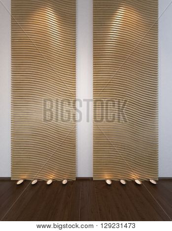 Wavy patterned wall and floor decorations with spotlights at the ceiling and on wooden floor. 3d Rendering.