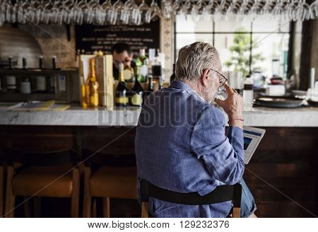 Senior Man Hangout Drinking Alcohol Night Club Concept
