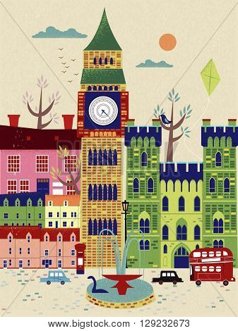 lovely United Kingdom travel poster with street scenery