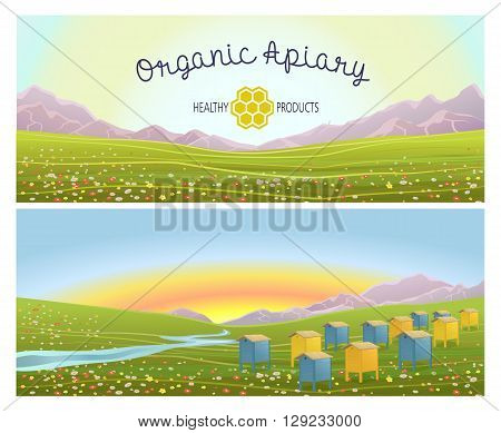 Apiary in alpine meadows in mountains. Honey Farm. Beehive set. Bee honeycomb. Rustic landscape. Fields of green grass. Production of natural organic products. Two banners.