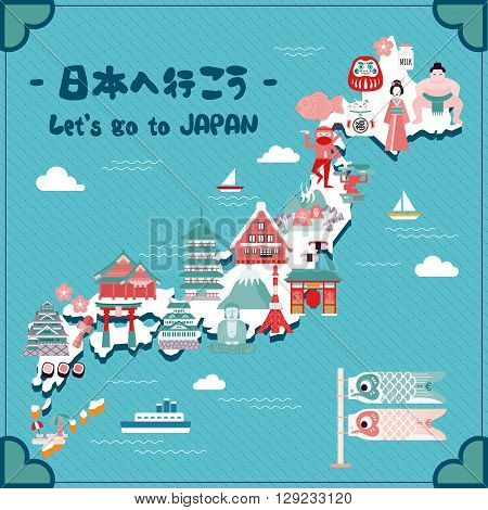 lovely Japan travel map - Let's go to Japan in Japanese